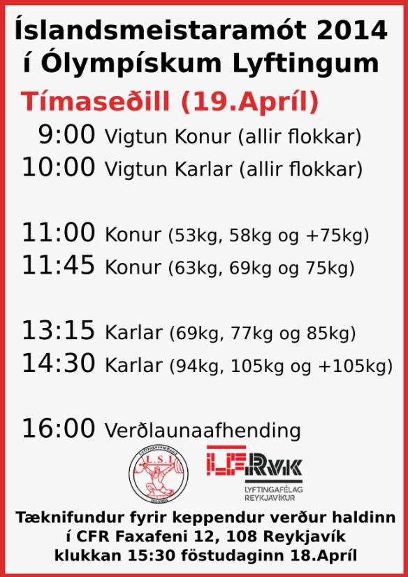 Tímaseðill fyrir Íslandsmótið 2014